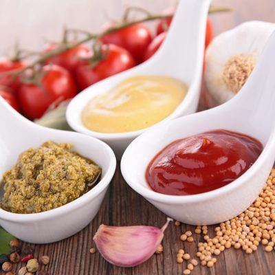 ketchup,pesto and mustard